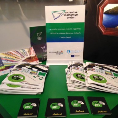 Promotional material at OLYART's stand