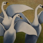 Wild Swans at Coole - Oil on board by Maurice Meade