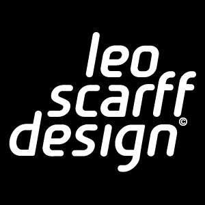 leo scarff design logo white