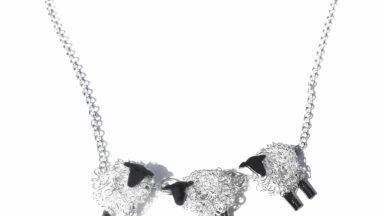3 sheep silver necklace