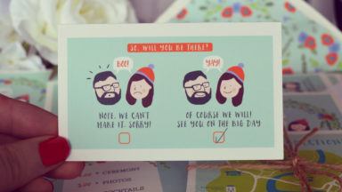 Aye do   Quirky wedding invitation illustration Ireland