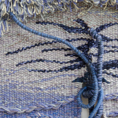 Frances Crowe tapestry Close up detail blue