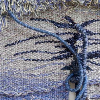 Frances Crowe tapestry Close up detail blue