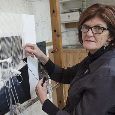 Frances Crowe weaving