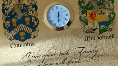 Surnamecrest clock plaque